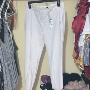 Pink striped columnists ankle mid rise pants!